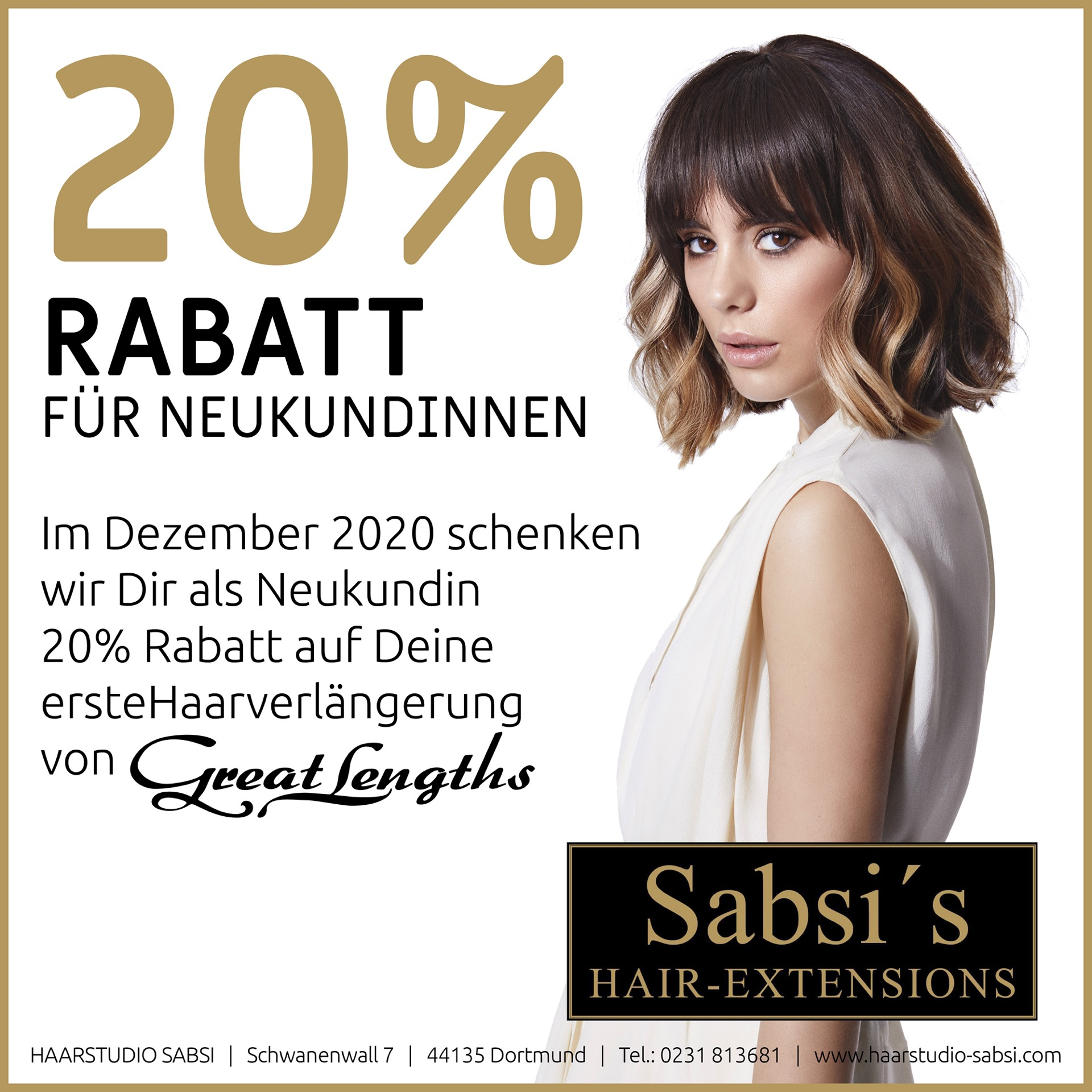 Rabatt-Aktion für Neukundinnen für Haarverlngerungen von Great Lengths